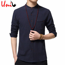 2016 New Arrival Linen Shirts Men Casual Shirt Mens Pure Color Slim Fit Cotton Long Sleeve Stand Collar Shirt Big Size 5XL YN275(China (Mainland))