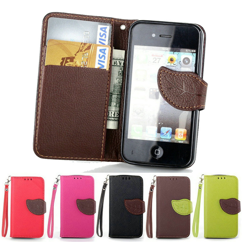 Luxury Flip Leather Case For iPhone 4 Wallet Style Stand Phone Bag Caso Capa Cover For iPhone 4s With Leaf Buckle(China (Mainland))