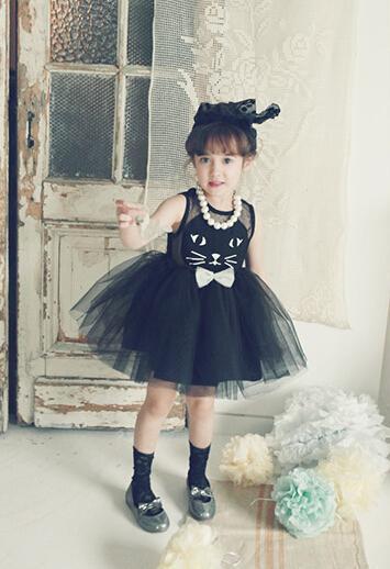 2015 Sweet Style New Summer Formal Dresses Children Girl's Sleeveless Multi-layered Cute Cat Dress Gauze Princess Birthday Dress(China (Mainland))