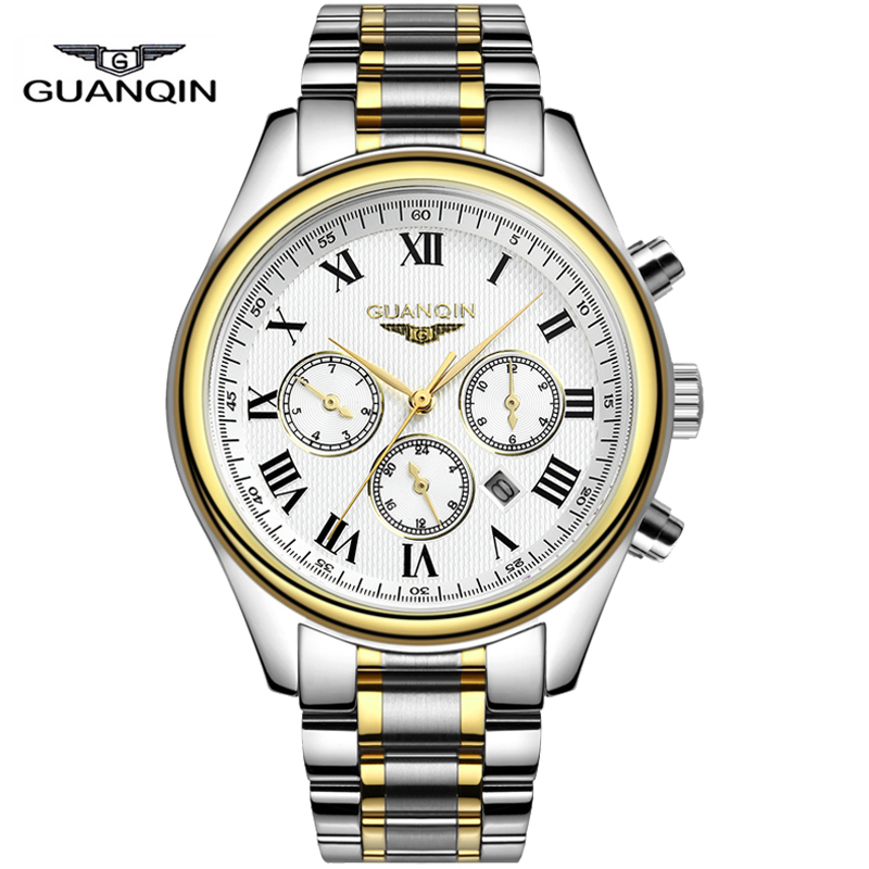 Watches men business Full Steel clock Luxury brand GUANQIN quartz watch waterproof wristwatch sport relogio masculino reloj<br><br>Aliexpress