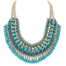 Layered Bohemian Tassels Fringe Drop Vintage Weave Multilayer Collar Necklace Choker Chain Bib Statement Necklace & Pendants(China (Mainland))