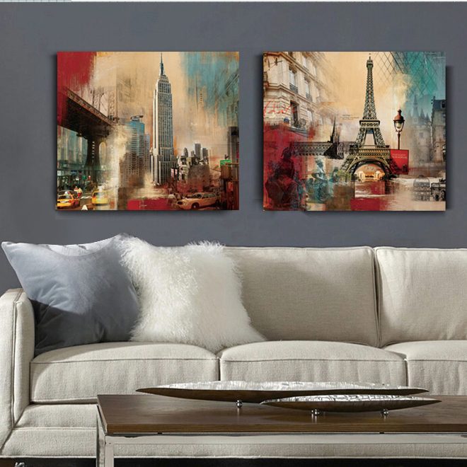 Buy New York Eiffel Tower Empire State Building Canvas Art Wall Home Decor