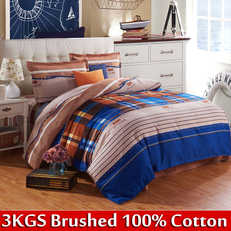 [Flower Gift] blue and purple duvet cover queen/king size bed covering king size bedspreads on the bed cotton bedding sets(China (Mainland))