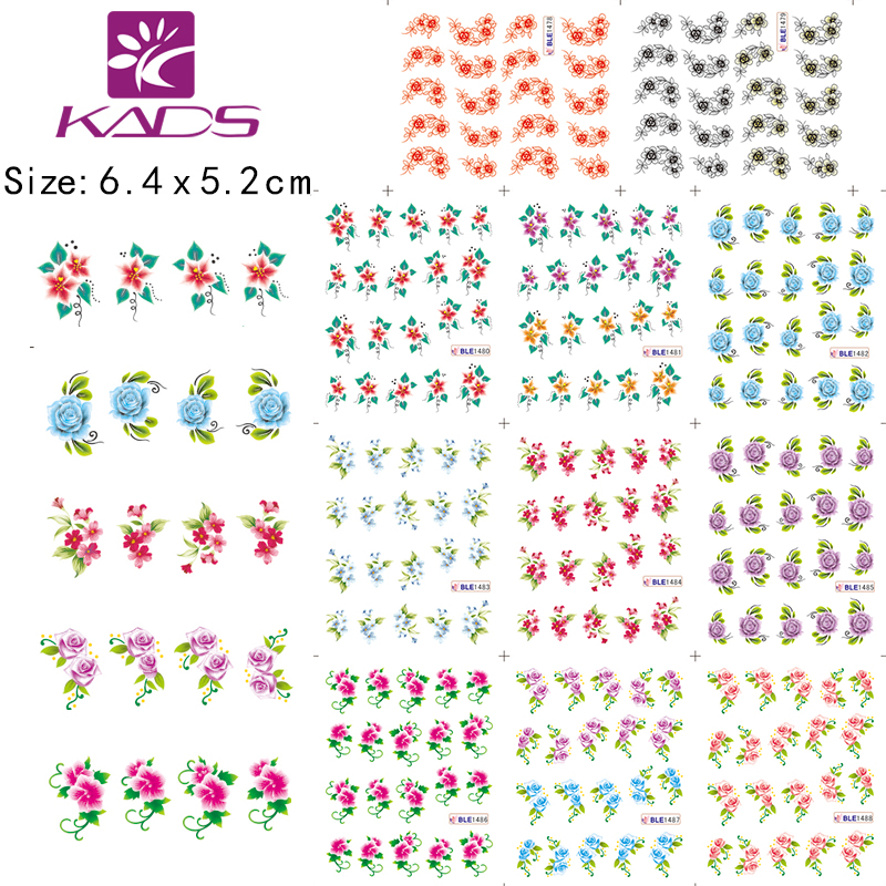 BLE1478-1488 Colorful small flowers water transfer nail sticker pure & fresh design For nail art sticker(China (Mainland))