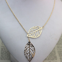 Star Jewelry LOSS MONEY SALE Fashion Women Double Leaf Necklace Fashion Leaf Pendant Necklaces for women 2015