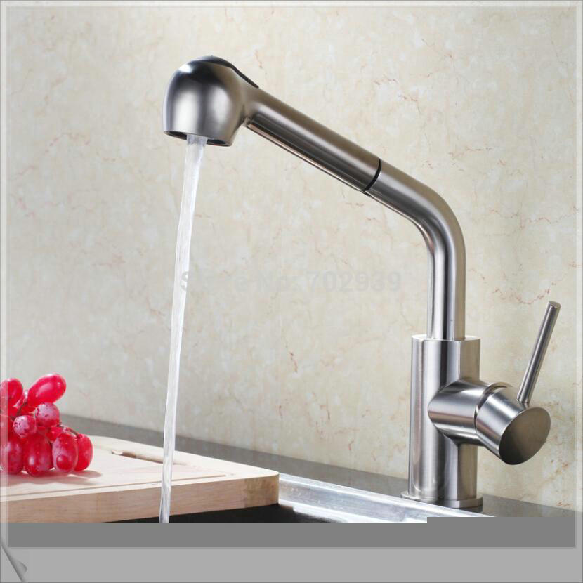 brushed nickel pull out kitchen bar faucet mixer tap pop square<br><br>Aliexpress