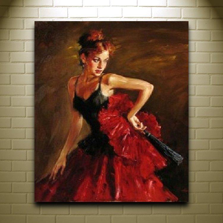 handmade women oil painting on canvas spanish dancer