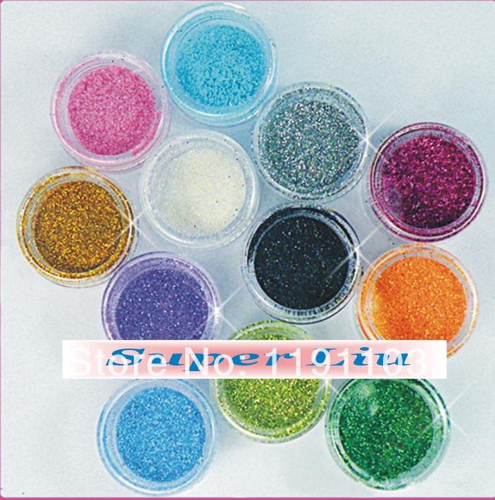 Free Shipping 12 Mix Color Nail Art Glitter Set Nail Glitter Powder Dust For UV Gel Acrylic Nail Decoration(China (Mainland))