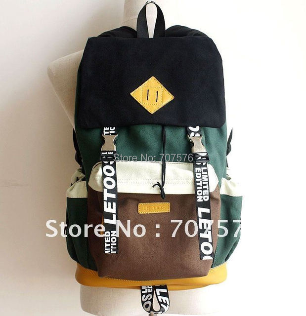 Authentic Bag Real leather /Canvas laptop Backpack Korean Dubble Shoulder School Backpacks Pig Nose  Leisure Bags TBK-014