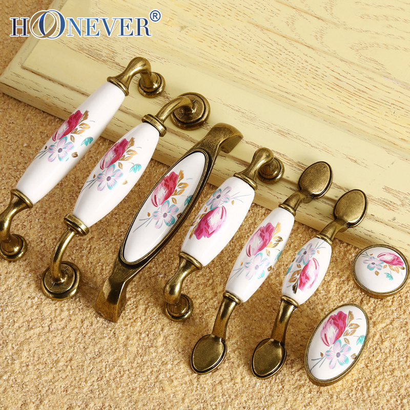 5pcs Ceramic Door Handle European Tulip Cupboard Cabinet Handles Wardrobe Handle Vintage Flower Drawer Pull(China (Mainland))