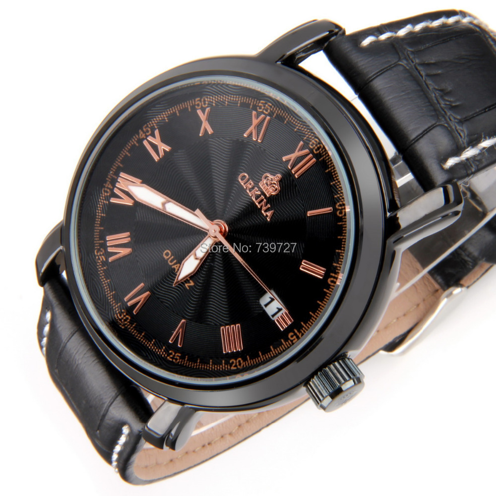 Brand ORKINA Waterprood Quartz Movement Stainless Steel Back Leather Strap Casual Men Wristwatches with Gift Box