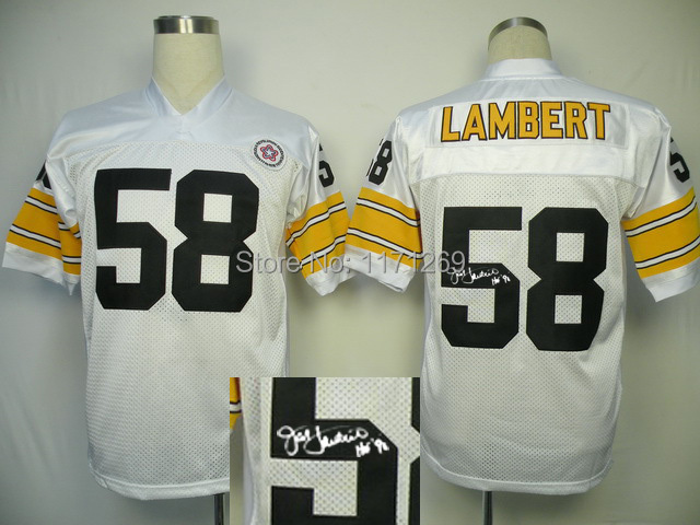 Free Shipping 2014 New Throwback Signature Edition Jersey Steelers 58 Lambert Mens Football Jerseys Signature Jersey(China (Mainland))