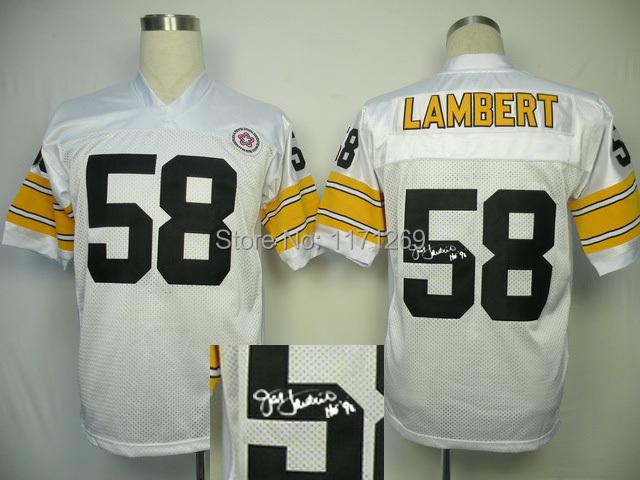 Free Shipping 2014 New Throwback Signature Edition Jersey Steelers 58 Lambert Mens Football Jerseys Signature Jersey(China (Mainland))
