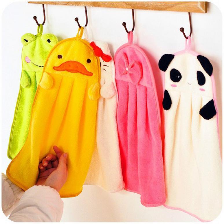 Factory outlets Nursery Hand Towel Soft Plush Fabric Cartoon Animal Wipe Hanging Bathing Towel for Kid(China (Mainland))