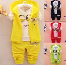 Newest 2016 Autumn Clothes Sets Kids Vest+T Shirt+Pants 3 Pcs Sets Children Suits Baby Girls Boys Minion Suits Infant/Newborn(China (Mainland))
