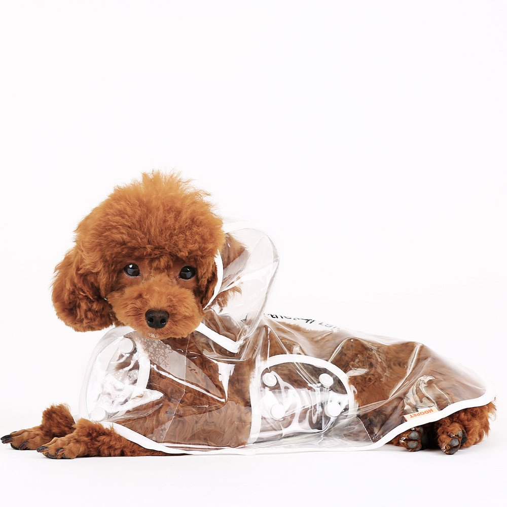 Waterproof Dog Puppy Raincoat Pet Transparent Clothes Dress with Hood(China (Mainland))