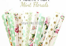 100pc Mixed 4 Color MINT FLORALS Flower & Gold Paper Straws,Party Decor,Cake Pops,Mint Party,Birthday,Baby Shower,Bridal,Wedding(China (Mainland))