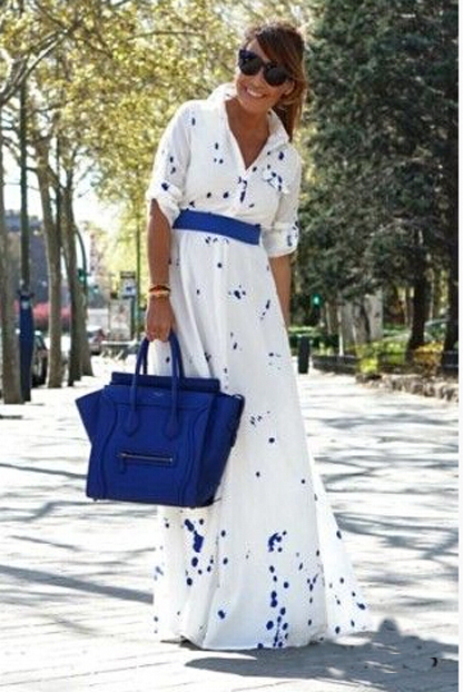 Siebel summer style polka dot print Bohemian elegant maxi dress 2015 women long sleeve fashion chiffon long dresses vestidos(China (Mainland))