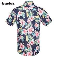 Gacloz пляжные Гавайские рубашки Для мужчин одежда 2019 Летняя мода с цветочным принтом, короткий рукав кнопка вниз Гавайский Мужская рубашка на...(China)