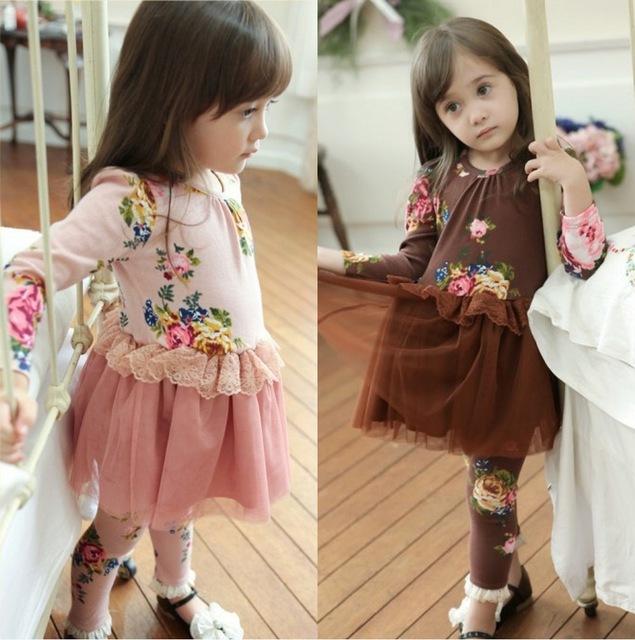 Весна девочки кружево печать цветок ну вечеринку платье + легинсы комплект 2 шт. девочки свободного покроя платья