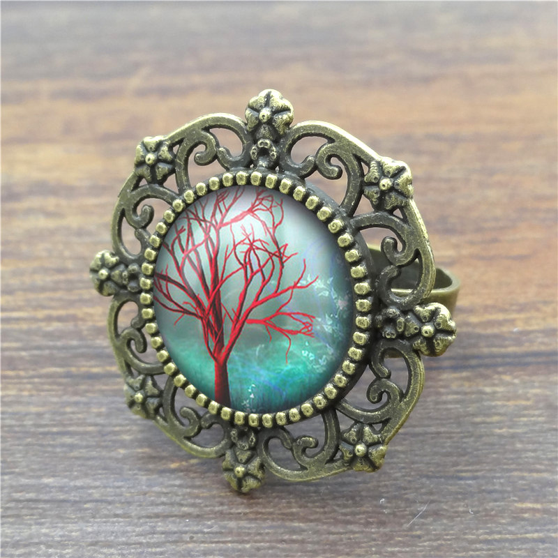 Beautiful Tree of Life Glass Cabochon Rings for Women Fashion Vintage Ancient Bronze Alloy Men Ring Wholesale(China (Mainland))