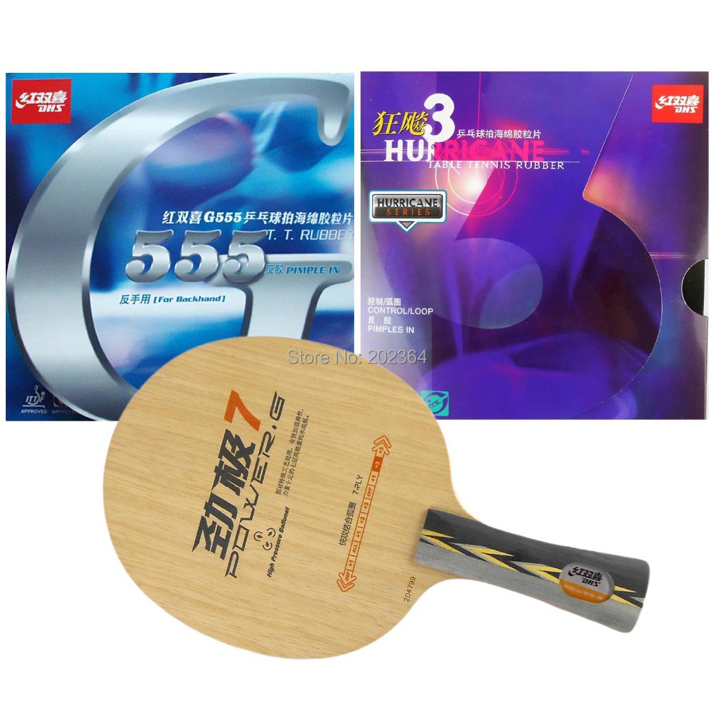 Free Shipping, DHS POWER.G7 Table Tennis Blade With Hurricane3 / G555 Rubber With Sponge for a Ping Pong Racket<br><br>Aliexpress