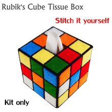 KIT ONLY stitch yourself Rubik's Cube Tissue box cover as in The Big Bang Theory /  Magic Cube Paper Towel Canister(China (Mainland))