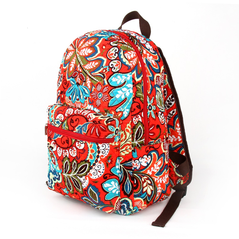 [ROWLING] Quilted Cotton Floral Zippered School Campus Backpack Baby BagPlum Crazy Pattern C012(China (Mainland))