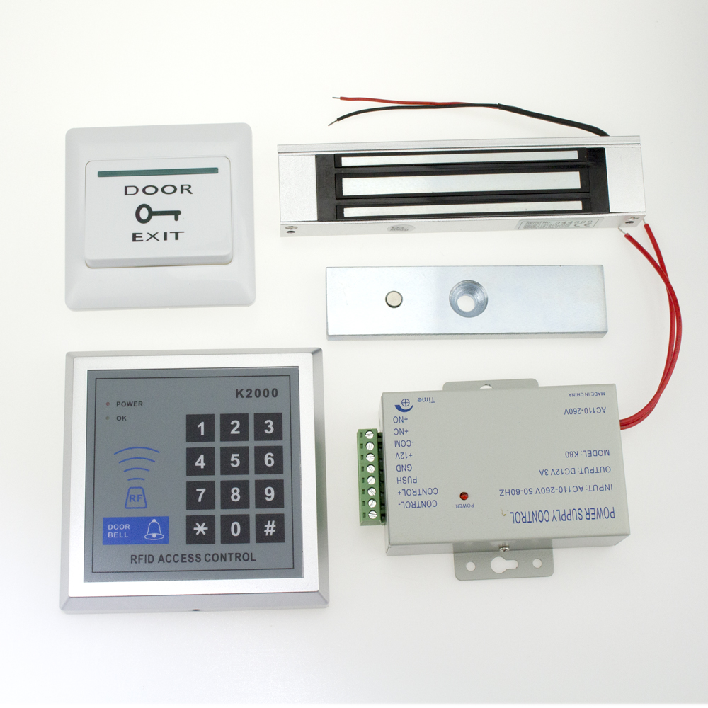 Full Complete Rfid Door Lock Access Control Keypad Kit +Electric magnetic Lock+Power(China (Mainland))