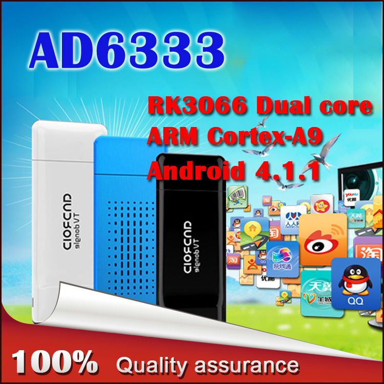 AD6333 Mini PC RockChip RK3066 Dual Core Cortex-A9 1.6GHz 1GB / 4GB Android 4.1.1 HDD Player Google TV Dongle Stick - HONG KONG MI(INTERNATIONAL store TECHNOLOGY CO., LIMITED)