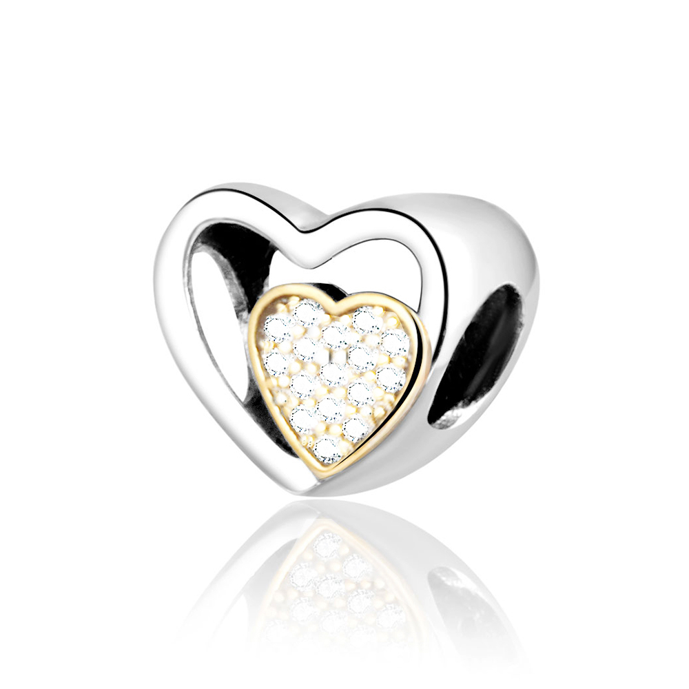 Heart Silver Ring With 14k And Cubic Zirconia