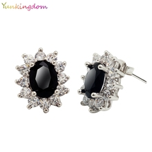 Yunkingdom supermodel Fashion Show 18k White Gold Plated CZ Diamond Crystal Brand Stud  Earrings Jewelry 3 Colors(China (Mainland))