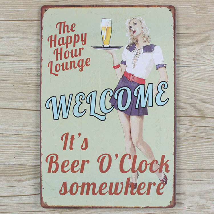 Beer sexy lady vintage Retro decor Tin craft Metal vintage signs wall sticker bar home wall 20X30CM Hot Sale GY-00051(China (Mainland))