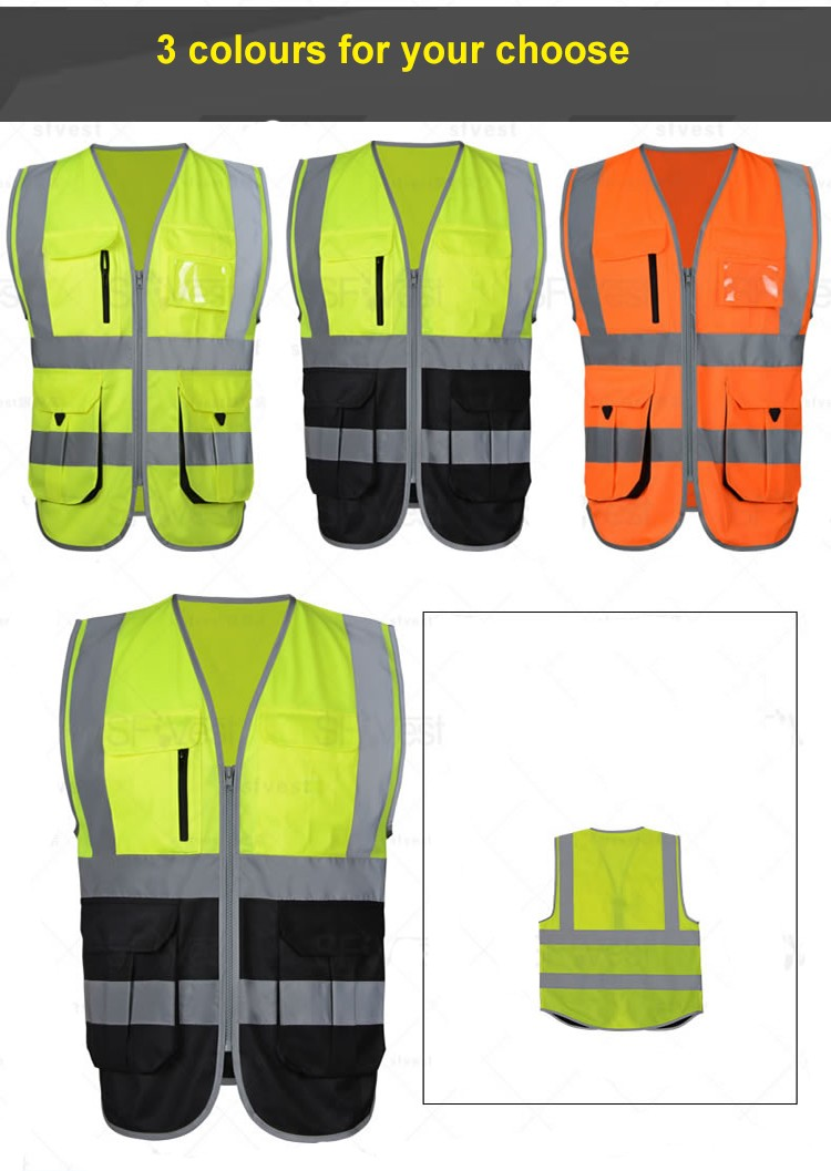 SFvest High visibility reflective safety vest reflective vest multi pockets workwear safety waistcoat free shipping