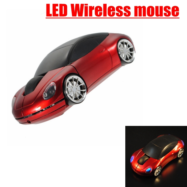 Red 3D 2.4G USB Wireless 1600DPI Mouse Optical Mice For Computer Laptop Car Shaped(China (Mainland))