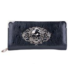 Cool Retro Skull Wallet for Women Vintage Clutch Bag Black