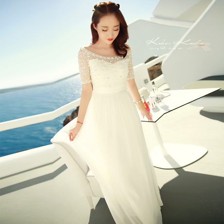 2016 summer women's Beach white long dress slash neck beading lace chiffon one-piece dress bohemia beach one piece dress female(China (Mainland))