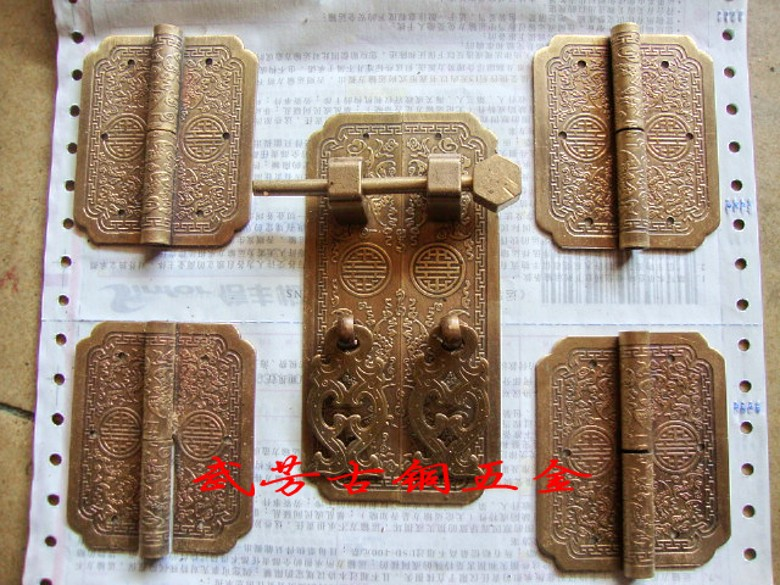 Chinese antique furniture carved bookcase copper fittings top cabinet hinge + 1pcs handle 4pcs(China (Mainland))