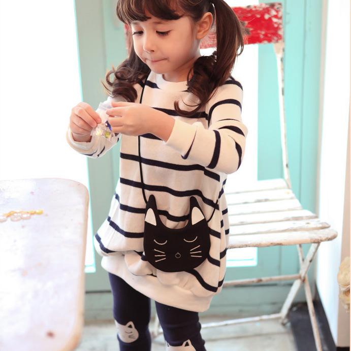 Children girl fall clothing dress 2pcs suit cartoon cat stripe sweatshirts dress leggings girl sets kids