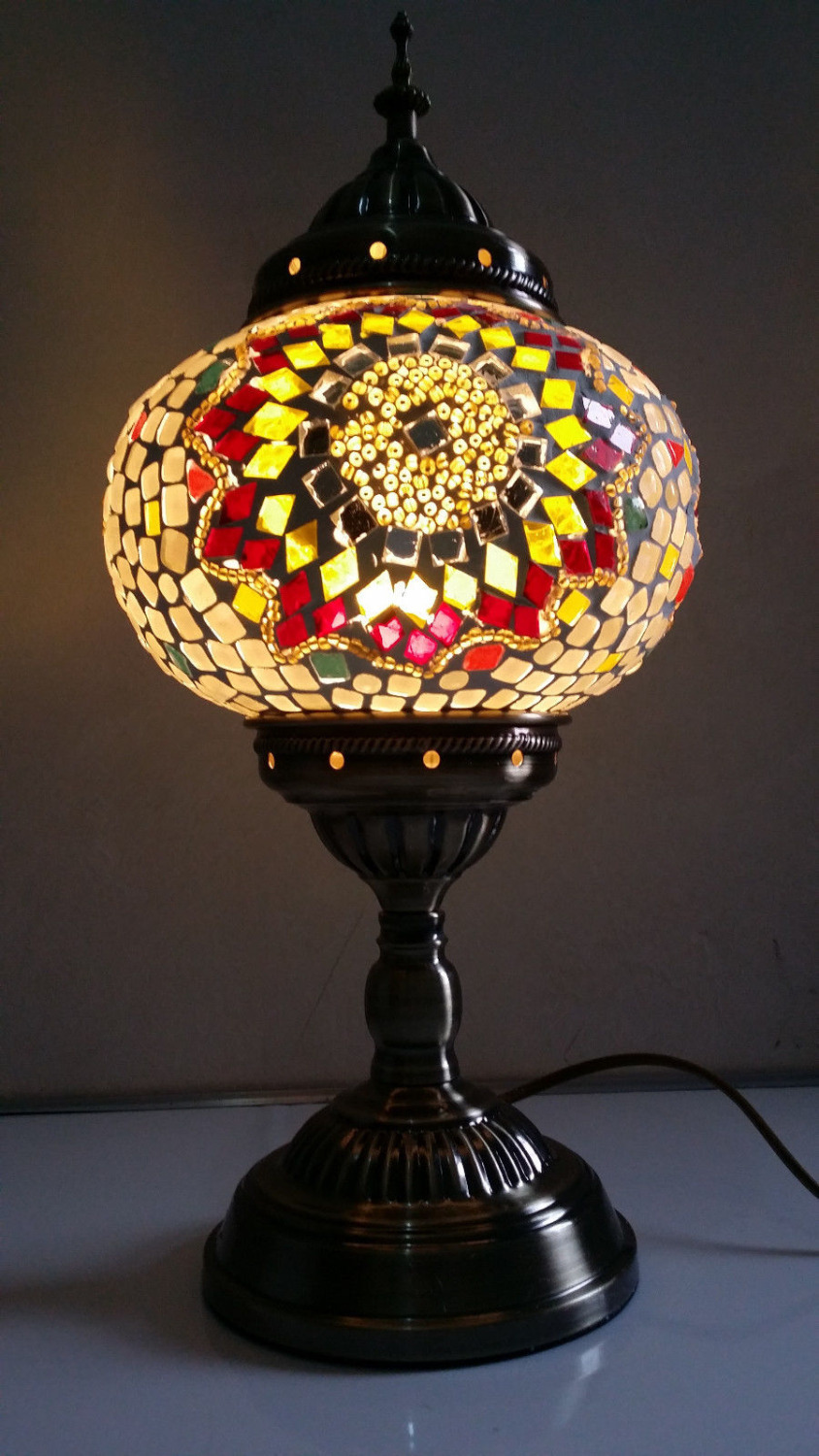 turkish moroccan style mosaic glass table lamp hand craft. Black Bedroom Furniture Sets. Home Design Ideas