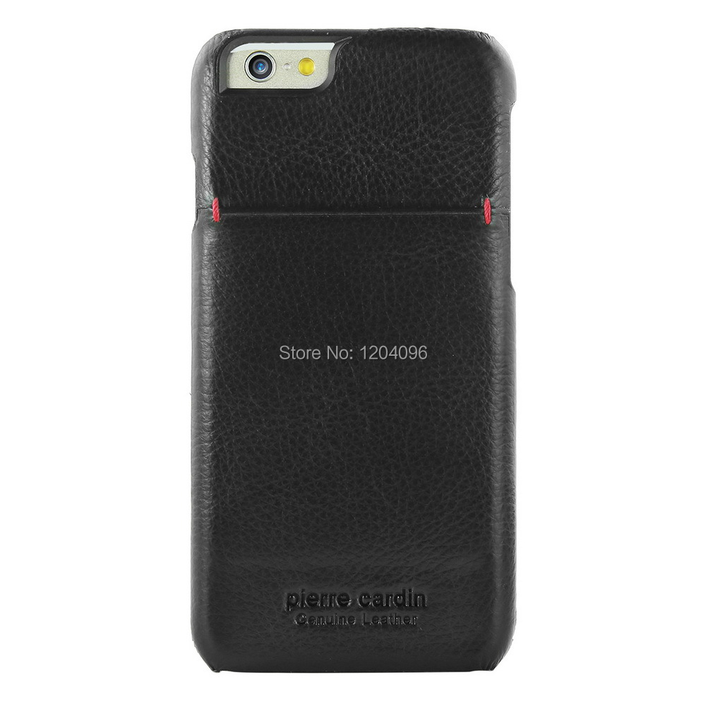 Pierre Cardin Premium Genuine Leather Ultra Slim Protective Credit Card Carrying Wallet Hard Case Cover for Apple iPhone 6 6s