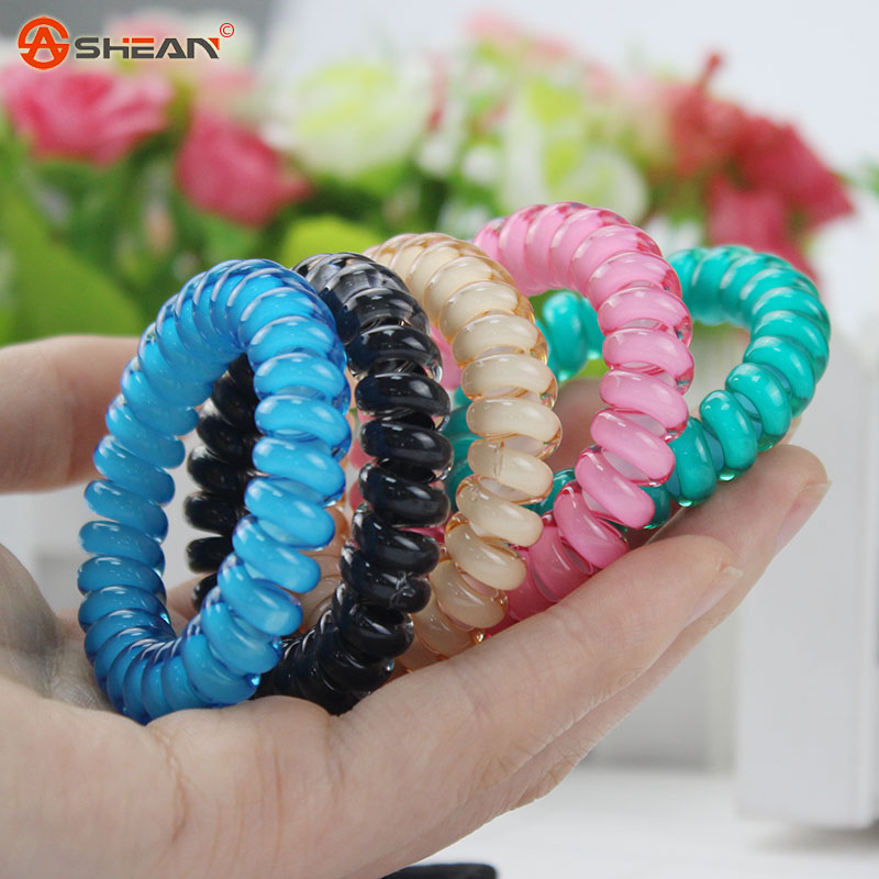 Fashion Cute Candy Color Hair Jewelry Headbands Telephone Line Hair Rope for Women Hair Band(China (Mainland))