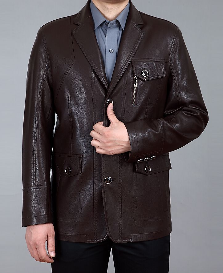 2015 Mens Casual Leather Clothing Men Turn-down Collar Slim Suit Genuine Mens Leather Coat High Quality Sheep Leather JacketОдежда и ак�е��уары<br><br><br>Aliexpress