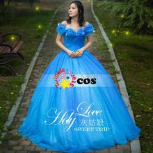 new cinderella 2015 prom Dress Movie new adult  cinderella party Cosplay Costume princess Cinderella wedding dress Free Shipping