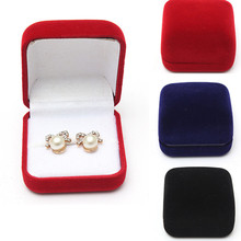 Retail Black/Red Velvet Wedding Jewellery Storage Fashion Jewelry Display Gift Packaging Ring Box(China (Mainland))