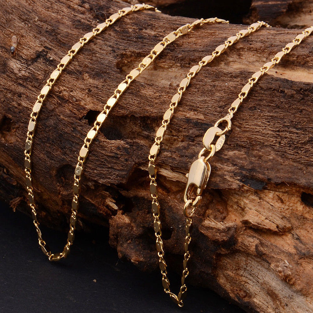 22Inch Solid Yellow Gold Filled Unisex Charm Jewellery Necklace Chain Nice Gift for Men Women(China (Mainland))