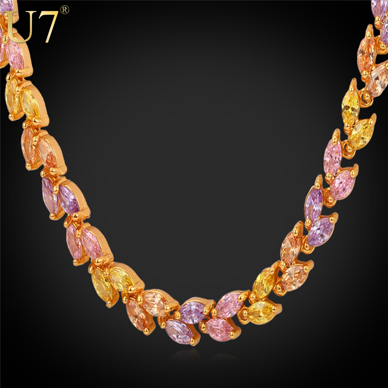 Zircon Necklace 2015 New Trendy 18K Gold Plated/Platinum Plated Cubic Zirconia Wheat Chain Necklace Women Jewelry Wholesale N384(China (Mainland))