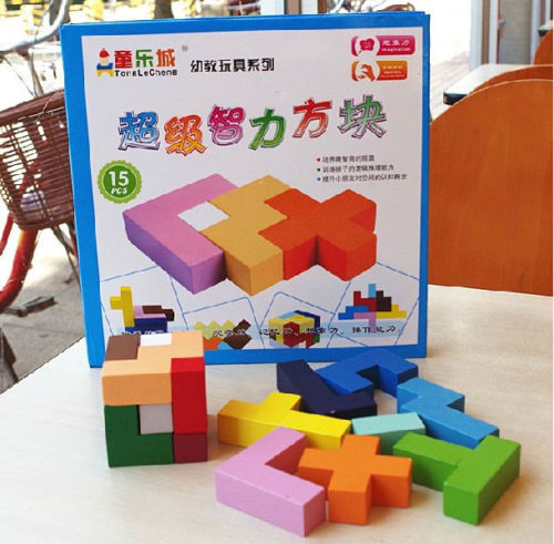 New wooden colorful wood toy 3D Cube Intelligence puzzle 1set(China (Mainland))