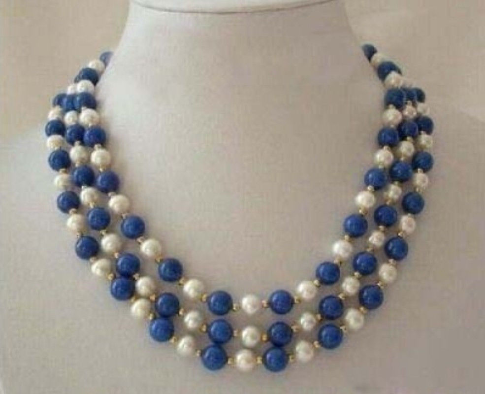 Charming 3 Rows White Pearl & Lapis Lazuli Clasp Necklace Fashion Jewelry Rope Chain Necklace Pearl Beads Valentine's Day Gift(China (Mainland))