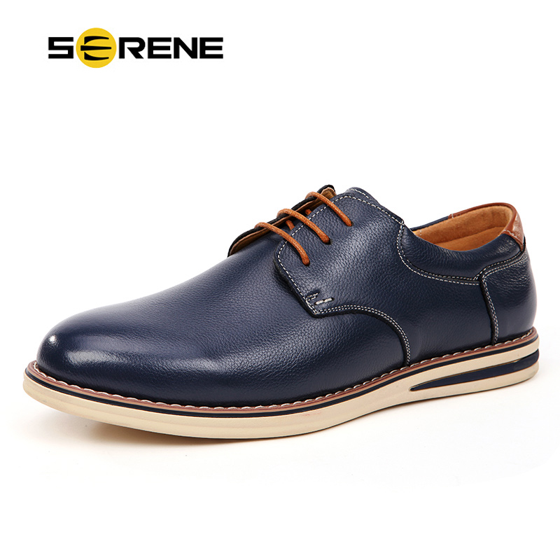 SERENE Mens Shoes Oxfords Leather Shoes Fashion Men Lace-up Flats Casual Moccasins Business Shoes Sapatos Spring & Autumn 5888(China (Mainland))